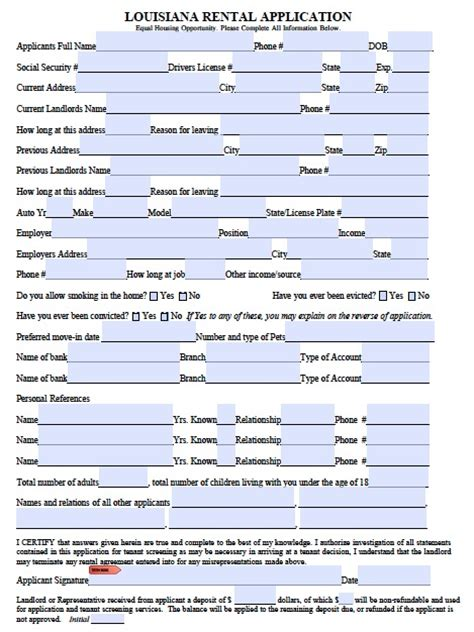 Free Rental Credit Application Form Template Free Louisiana Rental Application Form Pdf Template
