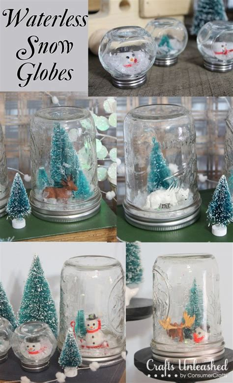 Handmade Snow Globes - waterless snow globes