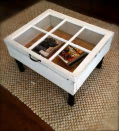 Reclaimed window coffee table with storage upcycled