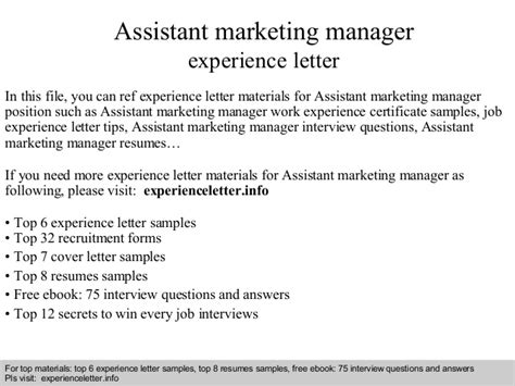 Work Experience Letter Assistant Manager Assistant Marketing Manager Experience Letter