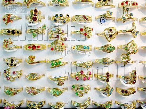 50pcs Rhinestones Gold P Rings Wholesale Jewerly Lots Free Ship fashion jewelry rings jewellery mix gold p australia