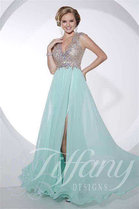 design prom dress tiffany designs 16071 a line slit skirt silky chiffon v