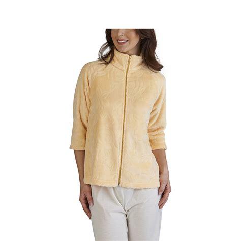 Rose jacquard bed jacket slenderella ladies zip up womens housecoat coral fleece ebay