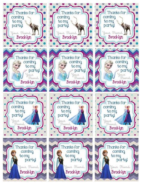 printable frozen favor tags personalized frozen birthday favor hang tags party by