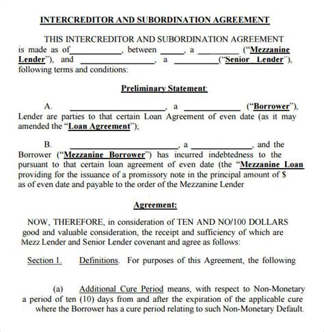 Explanation Letter To Subordinate Sle Subordination Agreement Mortgage Loan Agreement Form Sle 8 Subordination Agreement