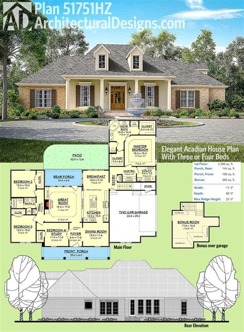 brick house plans with front porch best 25 acadian house plans ideas on pinterest acadian homes 4 bedroom house plans