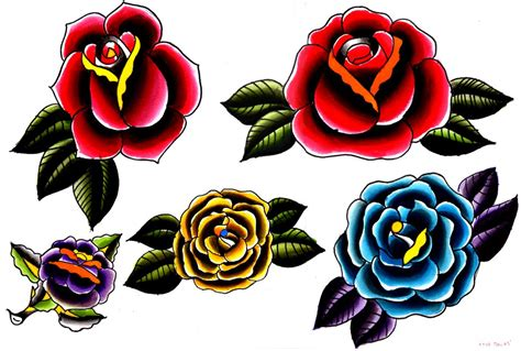 tattoo flash art roses traditional on sailor jerry sailor