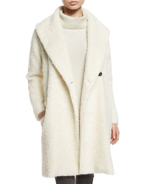 knit coat vince fuzzy knit coat in white lyst