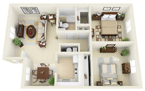 Home Design 3d 50 3d Floor Plans Lay Out Designs For 2 Bedroom | 50 3d floor plans lay out designs for 2 bedroom house or