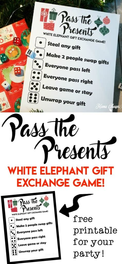 christmas pass the gift game pass the presents white elephant gift exchange free printable cheaps