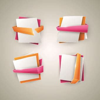 Origami With Ribbon - origami with color ribbon banner vector free vector in
