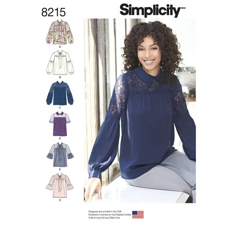 Sleeve Blouse Simplicity simplicity 8215 misses bow or collared blouse with sleeve