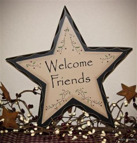 star home decor primitive country welcome friends wood star sign antique
