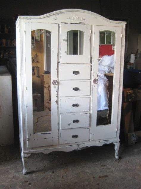 white shabby chic wardrobe vintage armoire distressed white finish shabby chic