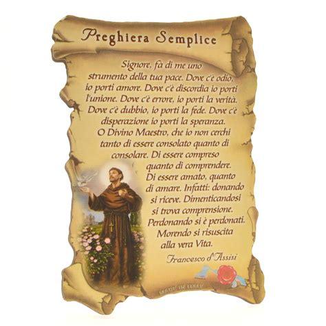 preghiera semplice testo quadretto a forma di pergamena con piedino da appoggio