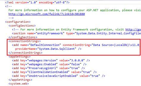tutorial web config asp net egocube 파트 5 연결 문자열 생성 및 sql server localdb 구성하기