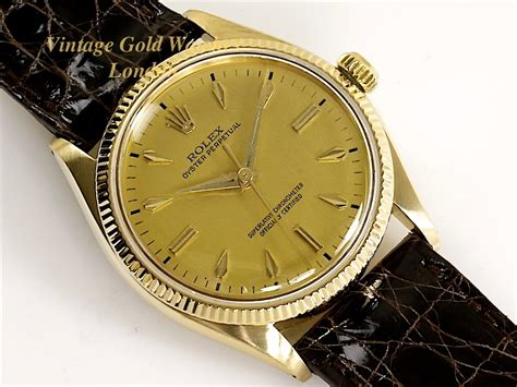 rolex oyster perpetual 18k 1955 vintage gold watches