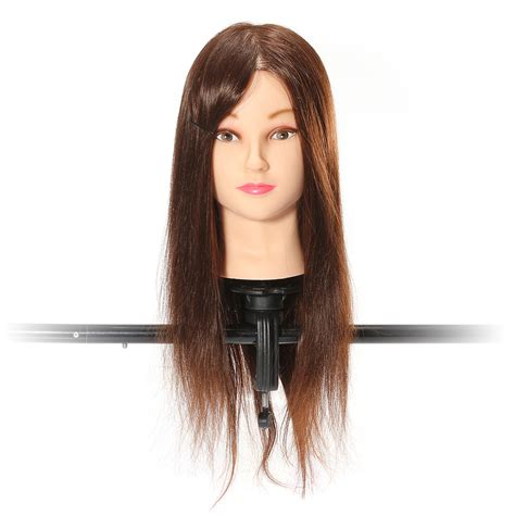 Real Hair Mannequin Heads by Brown 70 Percent Real Hair Cutting Mannequin