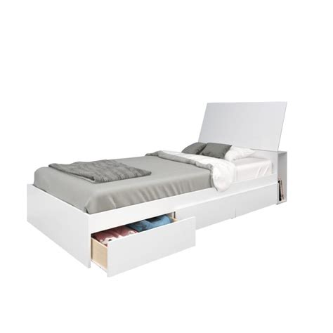 twin bed with storage and headboard twin storage bed with headboard in white 400557