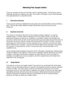 Tourism Marketing Plan Template by Marketing Plan Sle Outline Hashdoc