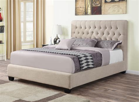 Fabric Bedroom Furniture Oatmeal Fabric Upholstered Bed Frame Caravana Furniture