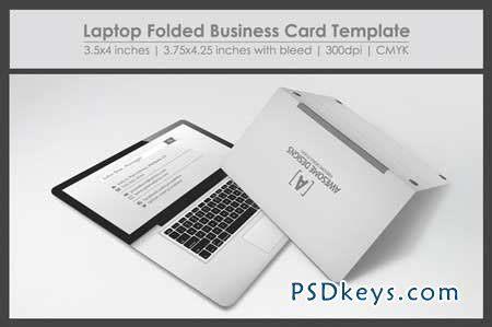 folding card template photoshop laptop folded business card template 27557 187 free