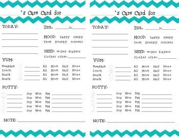daycare daily report card template chevron toddler daily report care card by miss broken