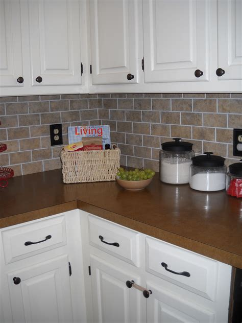 vinyl kitchen backsplash diy brick backsplash vinyl floor tiles cut into mini