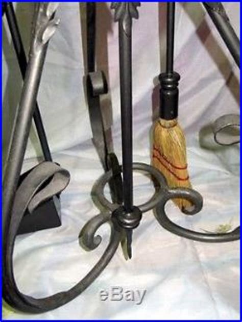 Handmade Fireplace Tools - handmade forged wrought iron fireplace tools set 4 pieces