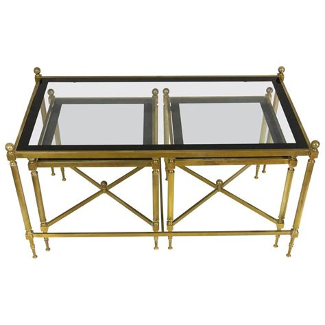 Glass Coffee Table Set Of 3 Set Of Three Brass And Glass Coffee Tables In The Style Of Maison Jansen At 1stdibs