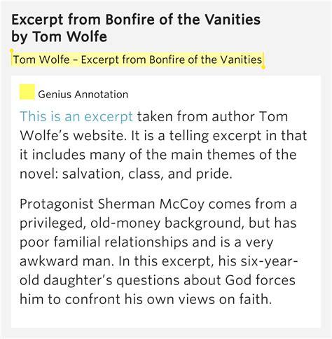 Vanities Lyrics by Tom Wolfe Bonfire Of The Bonfire Of The Vanities