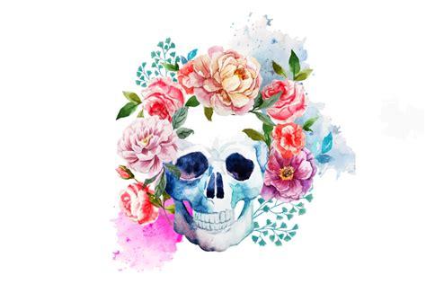 teschio fiori teschio con fiori vettoriale