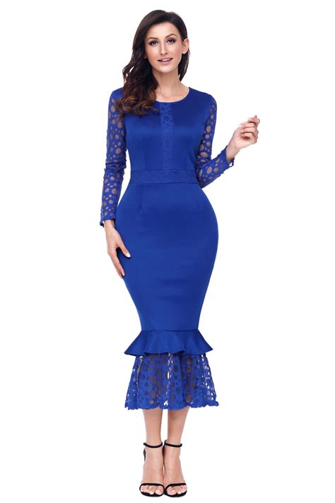 Dress Midi Mini Gaun Spandek Set Cardigan Polos Resmi Formal Kerja us 8 51 navy blue hollow out sleeve lace ruffle bodycon midi dress dropshipping
