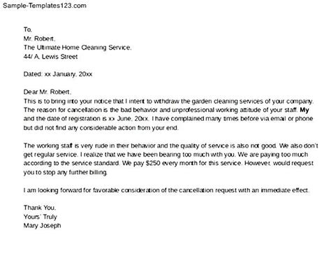 Letter For Cleaning Services Garden Cleaning Service Cancellation Letter Sle Templates
