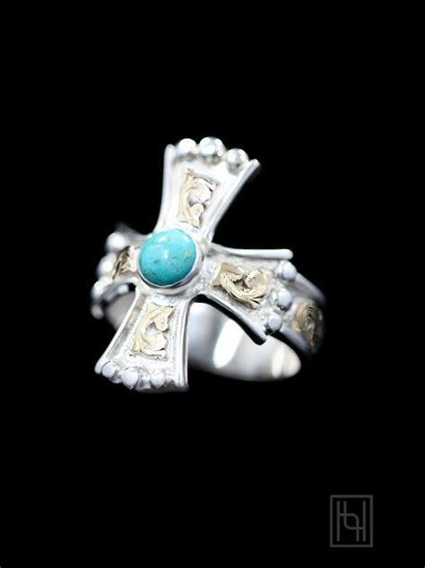 western turquoise cross ring sterling silver hyo silver