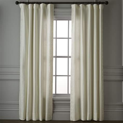 greek key curtains drapes greek key linen drape ivory williams sonoma