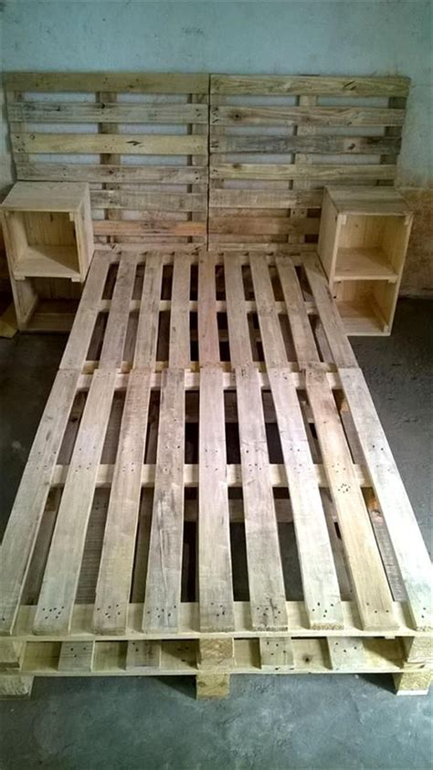 pin by mariam ovsepyan on pallet projects pinterest pallet bed frame with side tables and headboard re