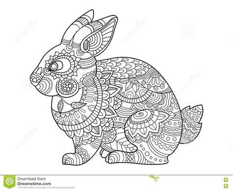 Rabbit Bunny Coloring Book For Adults Vector Stock Vector