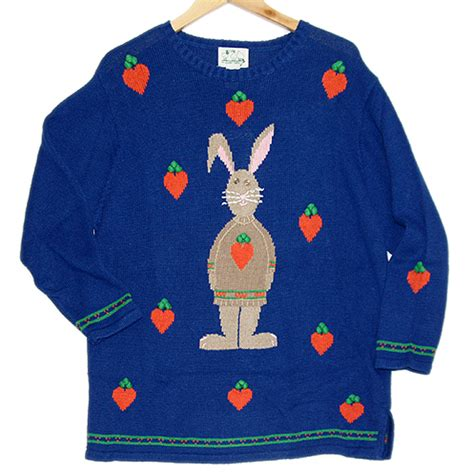 Mi10 Sweater Hoodie Rabbit 3 4th quacker factory easter bunny tacky sweater new the sweater shop