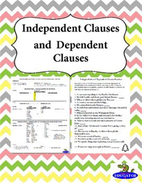 4th grade 187 dependent and independent clauses worksheets