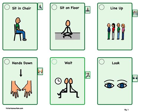 printable cue cards victories and autism visual tools visual supports
