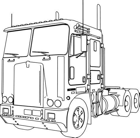short semi truck coloring page bing images