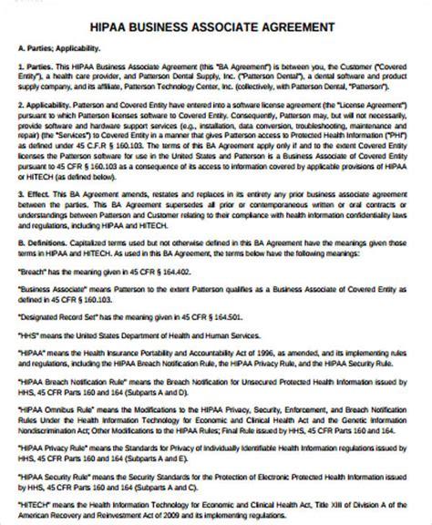 hipaa business associate agreement template sle hipaa business associate agreement 9 exles in