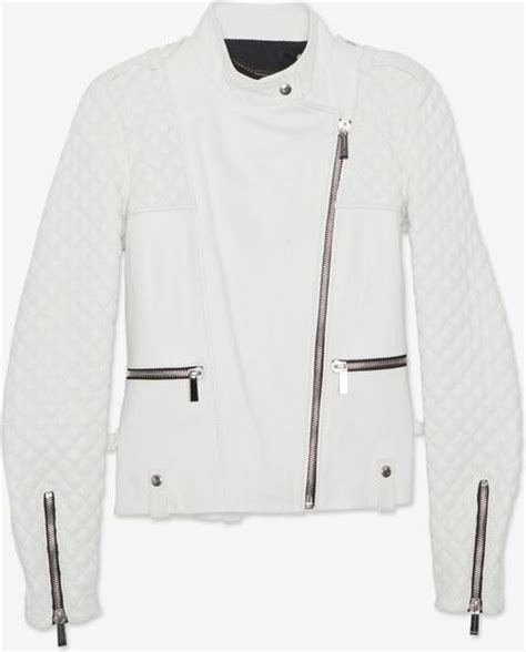 White Quilted Leather Jacket by Barbara Bui Zipper Detail Quilted Leather Jacket White In White Lyst
