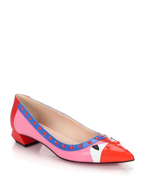 fendi flat shoes fendi bug studded leather point toe flats in pink lyst