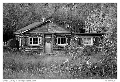 Cabins In Black by Black And White Picture Photo Wooden Cabin Alaska Usa