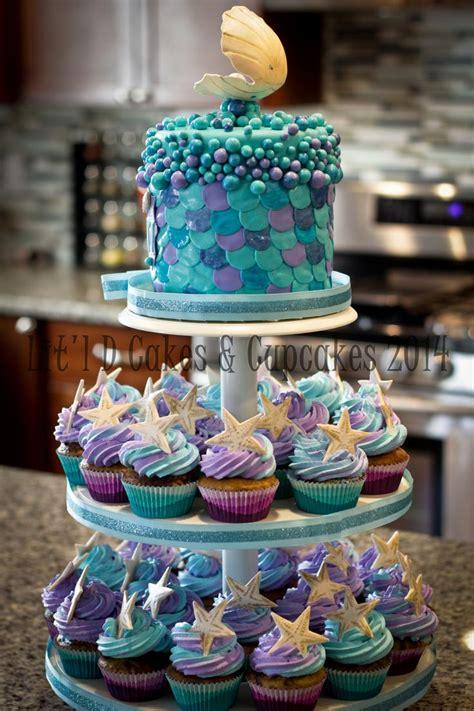 sea cupcake tower mermaid birthday cakes cake