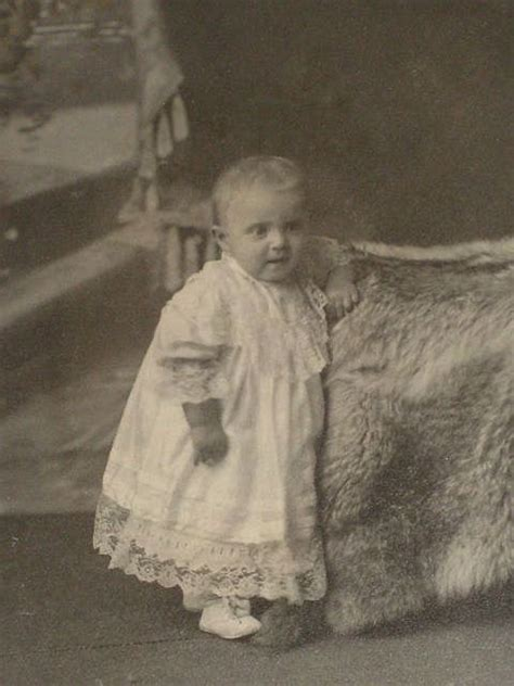 victorian cabinet card  baby girl standing   fur