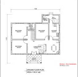 square home floor plans simple kerala style home design at 1155 sq ft