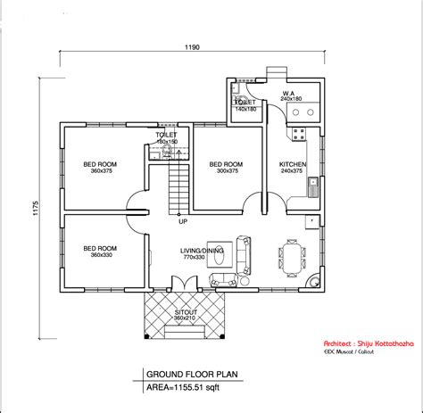 easy floor plans simple kerala style home design at 1155 sq ft